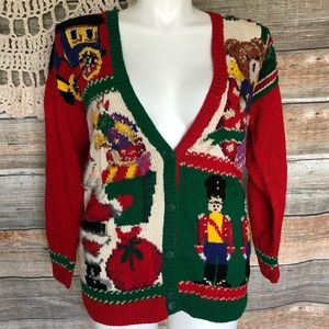Vintage Holiday Christmas Cardigan size Medium
